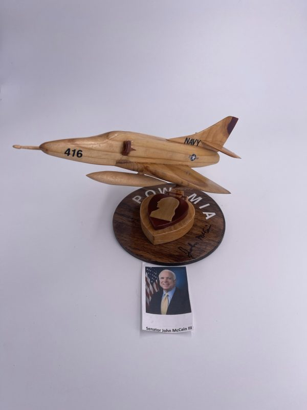 Handmade Wooden A-4 signed by John McCain with a purple heart design base